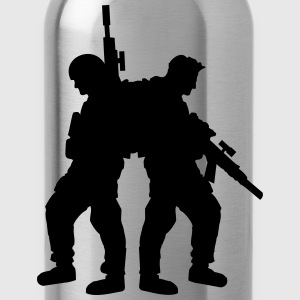 2 soldiers friends team crew T-Shirts - Water Bottle