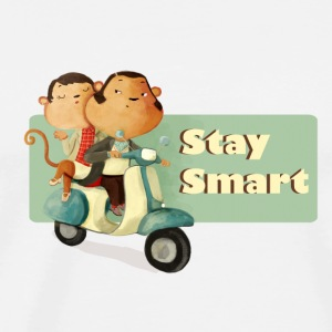 Stay Smart Scooter Monkeys Caps & Hats - Men's Premium T-Shirt