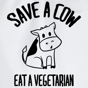 Save a cow, eat a vegetarian. T-Shirts - Drawstring Bag