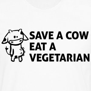Save a cow, eat a vegetarian T-Shirts - Männer Premium Langarmshirt