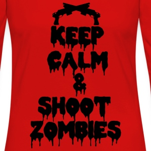 Keep calm and kill zombies shoot T-shirts - Dame premium T-shirt med lange ærmer