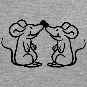 Two mice in love couple pair T-Shirts - Men's Premium Longsleeve Shirt