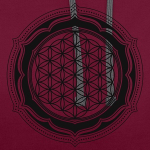 Flower of Life, Energy Symbol, Sacred Geometry T-Shirts - Kontrast-Hoodie