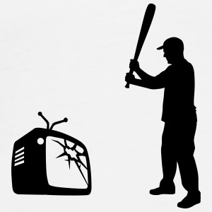 Destroy Your TV - Baseball bat vs. Television Buttons - Men's Premium T-Shirt