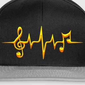 Music, pulse, notes, frequency, clef, bass, sheet T-Shirts - Snapback Cap