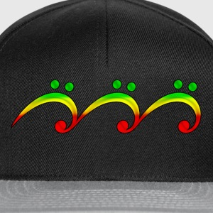 Reggae, music, notes, bass clef, wave, surf,  T-Shirts - Snapback Cap