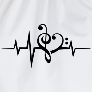 Frequency music notes clef heart pulse bass beat T-Shirts - Drawstring Bag