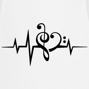Frequency music notes clef heart pulse bass beat T-Shirts - Cooking Apron