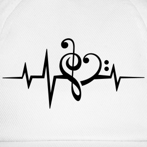 Frequency music notes clef heart pulse bass beat T-Shirts - Baseball Cap