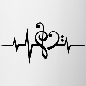 Frequency music notes clef heart pulse bass beat T-Shirts - Mug