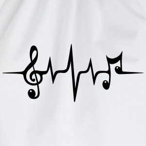 Heart rate pulse music note clef Electro Classic H - Drawstring Bag