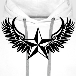 Nautical Star Wings, Tattoo Style, Protection Sign T-Shirts - Men's Premium Hoodie