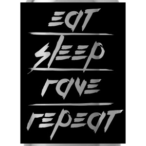 Eat Sleep Repeat Rave rectangle design T-Shirts - Water Bottle
