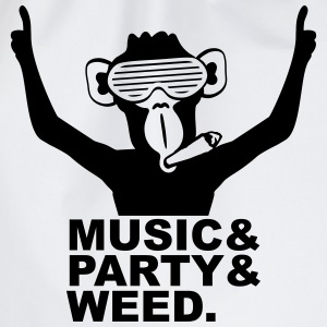 Party DJ Ape Weed Joint Music Fun Camisetas - Mochila saco