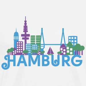 Skyline of Hamburg  Aprons - Men's Premium T-Shirt