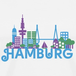 Skyline of Hamburg Buttons - Men's Premium T-Shirt