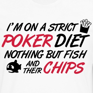 Poker diet: Fish and their chips T-shirts - Långärmad premium-T-shirt herr