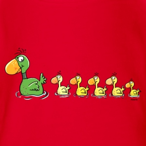 Sweet Family Of Ducks - Duck Shirts - Organic Short-sleeved Baby Bodysuit