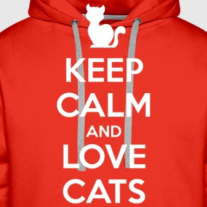 Keep Calm and Love Cats (dark) T-Shirts - Men's Premium Hoodie