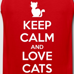 Keep Calm and Love Cats (dark) T-Shirts - Men's Premium Tank Top