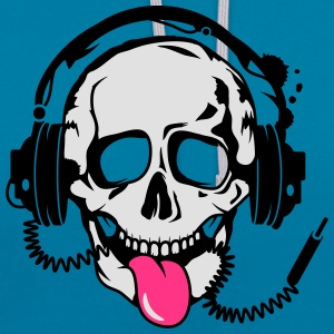 A skull stretched tongue out with headphones  T-Shirts - Contrast Colour Hoodie