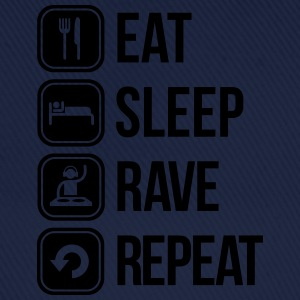 eat sleep rave repeat Camisetas - Gorra béisbol