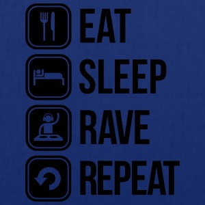 eat sleep rave repeat Camisetas - Bolsa de tela