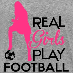Real Girls play football Manches longues - T-shirt Premium Homme