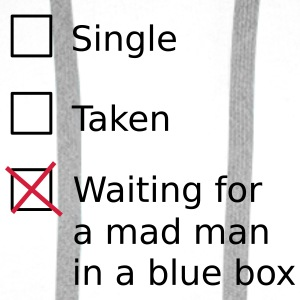 Single Taken Waiting for a mad man in a blue box Flessen & bekers - Mannen Premium hoodie