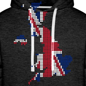 UK pixelated flag digital T-shirts - Mannen Premium hoodie