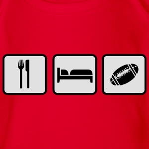 Eat Sleep American Football Camisetas - Body orgánico de maga corta para bebé