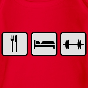 Eat Sleep Lift, Eat Sleep Gym, Eat Sleep Train Shirts - Baby bio-rompertje met korte mouwen