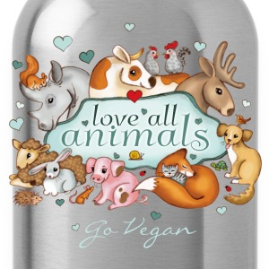 love all animals - go vegan - Drinkfles