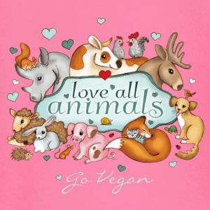 love all animals - go vegan - T-shirt