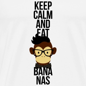 Nerd, Keep Calm and eat bananas. Affe, Schimpanse Langarmshirts - Männer Premium T-Shirt