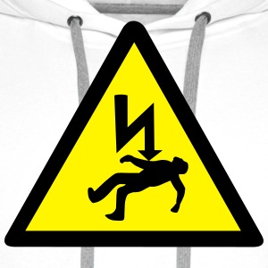 Danger of Electric Shock T-Shirts - Men's Premium Hoodie
