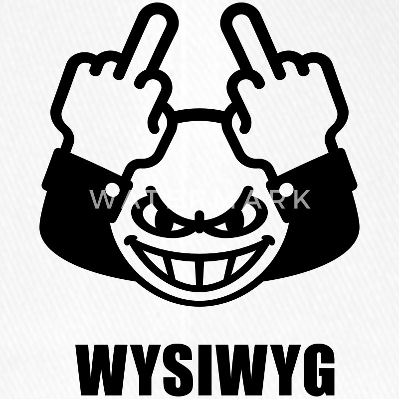 WYSIWYG Give The Finger Smiley (Fuck Off You) Caps & Hats - Flexfit Baseball Cap