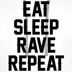 Eat sleep rave repeat Camisetas - Sudadera con capucha premium para hombre