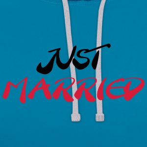 Just married Magliette - Felpa con cappuccio bicromatica