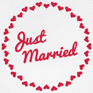 Just Married Heart Badge1 T-Shirts - Baseball Cap