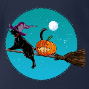 Navy Halloween Witch Cat Shirts - Baby bio-rompertje met korte mouwen