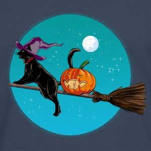 Azúl navy Halloween Witch Cat Camisetas - Camiseta de manga larga premium hombre