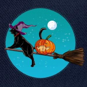 Marinblå Halloween Witch Cat T-shirts - Snapbackkeps