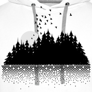 Forest, lake, moon and birds  T-Shirts - Men's Premium Hoodie