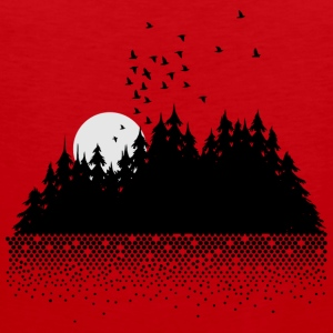 Forest, lake, moon and birds  T-Shirts - Men's Premium Tank Top