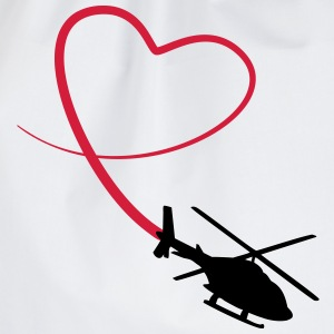 Helicopter Love Heart Looping T-Shirts - Drawstring Bag