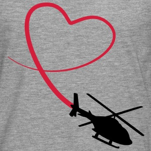 Helicopter Love Heart Looping T-Shirts - Men's Premium Longsleeve Shirt