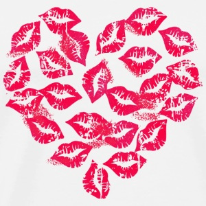 Wit Kissing Lips Heart Mokken & toebehoor - Mannen Premium T-shirt