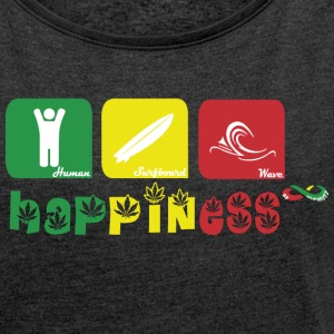 Happiness Rasta N Hoodies & Sweatshirts - Women's T-shirt with rolled up sleeves