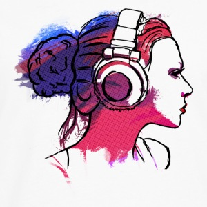 girl with headphones, woman with headphones T-Shirts - Men's Premium Longsleeve Shirt